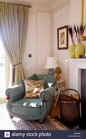 Country Living Room Curtains Grey Armchair And Cream Curtain In Country Living Room With