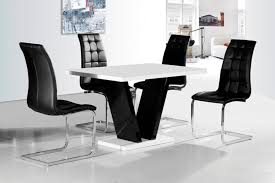 Vico White Black Gloss Contemporary Designer Cm Dining TABLE - Black dining table for 4