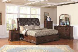 captivating upholstered leather headboard and neutral bedding idea