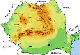 Románia domborzati térképe