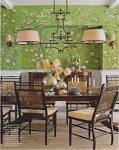 sybaritic spaces: Gorgeous Green Dining Room: de Gournay Wallpaper ...
