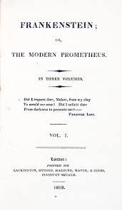 frankenstein or the modern prometheus 1818 mary shelley wiki