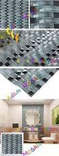 3d wave tile aqua color mirror bathroom wall mosaic design glass