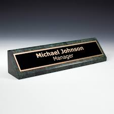 Custom Desk Name Plates by Custom Name Plates On Green Marble Desk Wedge Accolade Designs