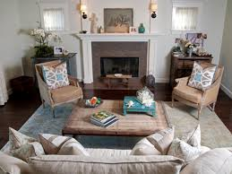 modern cottage style living room with bergere chairs and beige