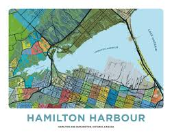 Hamilton Canada Map Hamilton Harbour Map Print U2013 Jelly Brothers