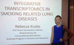 Join us in congratulating Rebecca Kusko for completing her PhD thesis this September in Avrum Spira and Marc Lenbrug     s lab  Her thesis leveraged RNA