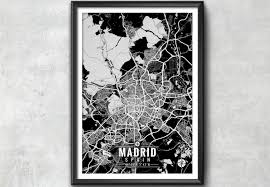 Madrid Spain Map by Madrid Spain Map With Coordinates Madrid Wall Art Madrid
