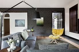home design living room with dark grey couch regarding and