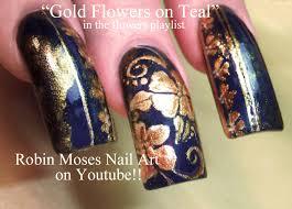 Robin Moses Nail Art by Gold Flower Filigree Nail Art For Long Nails Diva Lush Design