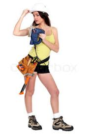 Image result for woman holding  a power tool