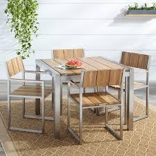 Teak Dining Room Set Macon 5 Piece Square Teak Outdoor Dining Table Set Natural Teak