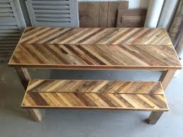 Reclaimed Pallet And Barn Wood Kitchen Table With Matching - Barnwood kitchen table