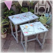 Chalk Paint Furniture Ideas by Nest Of Tables Painted In Chalk Paint With Bird Print Decoupage