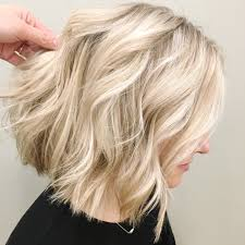 lob blunt cut blonde babylights ash blonde hair color