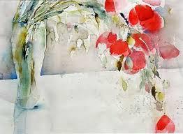 Ingrid Buchthal, \u0026quot;Mohn in Vase\u0026quot; Aquarell
