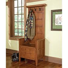 Storage Bench With Hooks by Furniture Oak Mini Hall Tree Storage Bench With Three Hooks For