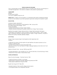 Sample Undergraduate Resume Resume Sample Grad School