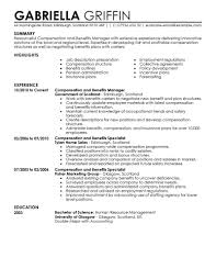 Resume Examples Human Resources Compensation And Benefits Resume Examples Human Resources Resume