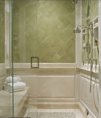 simple soft green bathroom decor with shower room and green wall