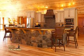 Log Homes Interior Designs Log Home By Golden Eagle Log Homes Island Kitchen Stone Wood