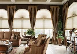 remarkable arched window treatments on different interior backyard