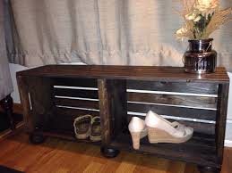 Rustic Wooden Bench With Storage Farmhouse Bench Rustic Wood Wine Crate Entry Way Bench With
