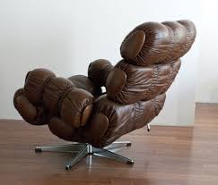 Swivel Chair Base Brown Leather Lounge Chair With Swivel Base 1970 At 1stdibs