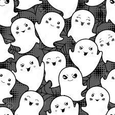 seamless halloween kawaii cartoon pattern with cute ghosts royalty