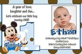 1st Year Baby Birthday Invitation Cards Baby Mickey Mouse 1st Birthday Invitations