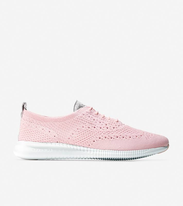 Cole Haan 2 Zerogrand Stitchlite Knit Petal / Argento White Ankle-High Fabric Sneaker 10.5M
