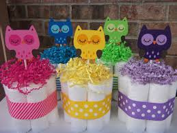 bright owl diaper cakes set of 3 small cakes baby shower