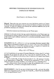 Informative Speech Essay Examples Mesures Cylindriques Et Distributions Sur L U0027espace De Wiener