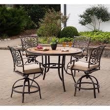 5 Pc Patio Dining Set - monaco 5 piece high dining bar set in tan with 56 in tile top