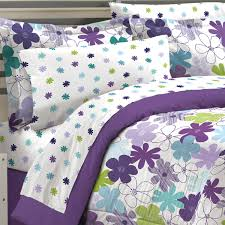 Girls Bedding Full by Purple Green Floral Daisy Girls Bedding Full Queen Comforter Set