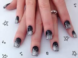 black u0026 silver acrylic nail design nails by me pinterest