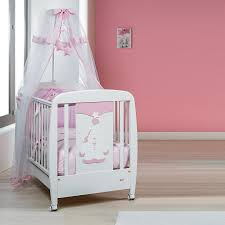 modern design wooden cot in white and pink at my italian living
