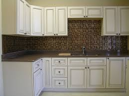 Copper Tin Backsplash And Distressed White Cabinets The - White tin backsplash