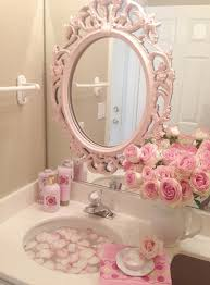 pink roses shabby cottage chic room decor romantic home bathroom