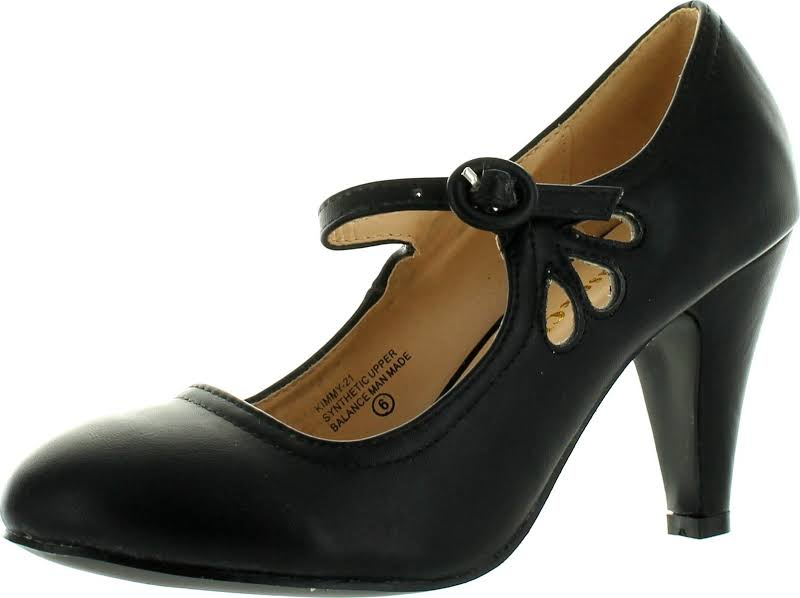 Chase & Chloe Kimmy-21 Round Toe Pierced Mid Heel Mary Jane Style Dress Pumps,Black,11