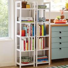 Container Store Bookshelves White Solid Wood Folding Tower The Container Store