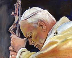 Pope John Paul Ii Paintings - Pope John Paul II by Sheila Diemert - pope-john-paul-ii-sheila-diemert