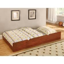 Full Size Trundle Bed Frame Shop Furniture Of America Omnus Oak Trundle Bed At Lowes Com