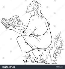 jesus reading bible coloring page available stock vector 507177235