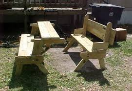 Wooden Folding Picnic Table Plans by Bench Converts To Picnic Table Free Plans Your Photos