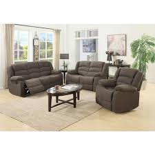 living set ellis contemporary microfiber 3 piece living room set brown s6021
