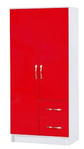 White Shiny Bedroom Furniture Red U0026 White Combi Wardrobe 2 Door 2 Drawer Marina High Gloss
