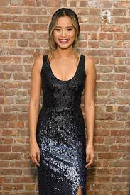 jamie chung wearing french connection starlight sparkle strappy