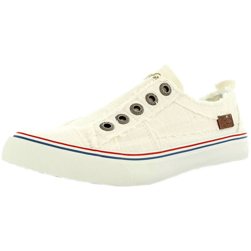 Blowfish Play Linen White Ankle-High Fashion Sneaker 6M