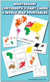 Africa Map Game by Montessori Continents 3 Part Cards And World Map Printables